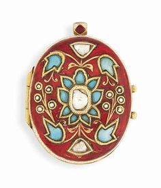A turquoise, gemset and enamelled gold pendant India, late 19th/early 20th century #christiesjewels