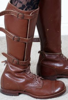 Vintage WWII brown leather boots, $410