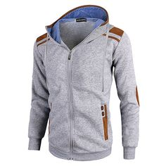 30c84c510 US$ 21.92 - Mens Fashion Zip Up Hooded Deer Skin Stitching Casual Sport  Hoodies
