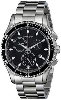 40f576b9067 Hamilton Men s H37512131 Jazzmaster Seaview Black Chronograph Dial Watch  Review Swiss Watch Brands