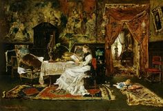 Paris Interior Mihály Munkácsy (Hungarian, Oil on canvas. Munkácsy's first salon picture is the Paris Interior. It depicts a colourful and bright indoor scene with an elegantly dressed young woman. Salon Pictures, National Gallery, Art Database, Great Artists, Les Oeuvres, Vintage Posters, Vintage Art, Art History, Oil On Canvas