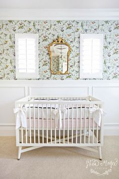 Nursery. Shea McGee Design. Wallpaper with flowers and birds, Hummingbirds by Cole & Son.