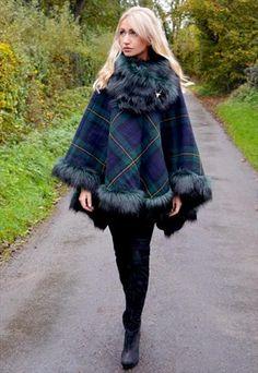 Highland Tweed Faux Fur Trimmed Cape