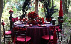 halloween theme wedding | Gothic Halloween Table Setting