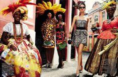 Mirte Maas by Giampaolo Sgura for Vogue Brasil 'Carmen Miranda Reloaded' Editorial - February 2013 Vogue Uk, Vogue Paris, Vogue Japan, Vogue Korea, Carmen Miranda, African Inspired Fashion, African Fashion, African Outfits, Moda Tropical