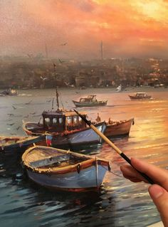 Anil … – White Catherine – Join the world of pin Watercolor Landscape, Landscape Art, Landscape Paintings, App Drawings, Oil Painting Pictures, Boat Art, Life Paint, Boat Painting, Collaborative Art