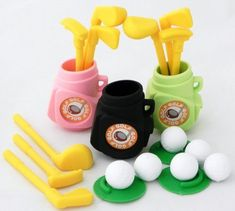 3 Colors Golf Eraser Made in Japan Iwako 21 Pcs by EPC. $10.99. The erasers can be taken apart by color so you can play and assemble them in many ways. They are very detailed in their design and are not painted, Non-Toxic, Non-PVC. Choking hazard for small children. Recommeded for ages 8 and up.
