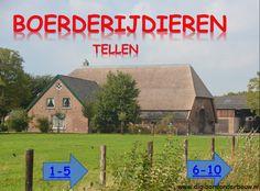 Digibordles tellen op de boerderij. In deze digibordles tellen de kinderen dieren die op de boerderij wonen. Ze kunnen kiezen: 1-5 of 6-10. http://www.digibordonderbouw.nl/index.php/themas/boerderij/boerderijdigibordlessen/boerderijalgemeen/viewcategory/180