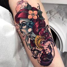 Ariel tattoo by Olie Siiz – Octopus Tattoo Mermaid Tattoo Designs, Mermaid Tattoos, Octopus Tattoo Sleeve, Sleeve Tattoos, Badass Tattoos, Body Art Tattoos, Tatoos, Tattoos For Women, Tattoos For Guys