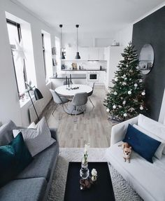 House house design interior design open space kitchen living room christmas House house design interior design open space kitchen living room christmas The decoration of our home is actually an ex. Townhouse Interior, Apartment Interior, Apartment Living, Interior Design Living Room, Living Room Designs, Apartment Kitchen, Small Space Living, Small Rooms, Small Spaces