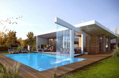 Maison design avec piscine fontaine Designed by Jorge Mastropietro Architects, this house with a fountain pool incorporates a high level … Villa Design, Modern House Design, Modern Pool House, Small Pool Design, Hillside House, Backyard Pool Designs, Backyard House, Swimming Pools Backyard, Luxury Pools