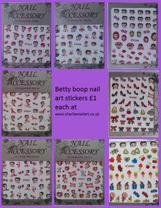 Betty boop nail art stickers £1 each http://www.charliesnailart.co.uk/betty-boop-nail-stickers/