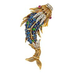 Multi-Stone, Diamond, Gold Dolphin Brooch, Jean Schlumberger for Tiffany & Co