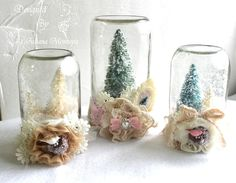 ILuvVintageScrap: Shabby Chic Waterless Christmas Snow Globes