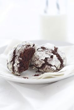 Triple Chocolate Crackle Cookies - can substitute applesauce and greek yogurt for the butter and maybe try whole wheat pastry flour? Worth a try!