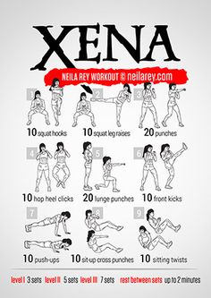 Xena Workout by Neila Rey Fitness Workouts, Hero Workouts, Fitness Motivation, At Home Workouts, Neila Rey Workout, Superhero Workout, Darebee, I Work Out, Get In Shape