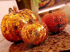 Make an ordinary pumpkin sparkle with the addition of sequins or shimmering glass beads.