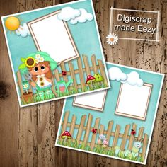 Girl in garden-2 Premade Scrapbook Pages for printing or digital scrapbooking by AdrisCorner on Etsy Book Sites, Scrapbooks, Photo Book, Scrapbook Pages, Digital Scrapbooking, Craft Supplies, Custom Design, Prints, Corner