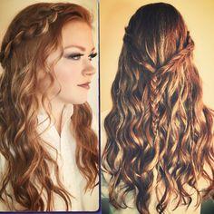 #promhair #prom #halfup #curls #braids #bohemian #musicfestival #beautifulhair  www.sherrijessee.com #redhead