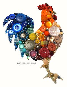 9x12+Button+Art+Housewarming+Rooster+Kitchen+por+BellePapiers