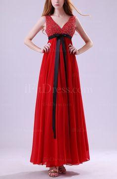 Red Elegant V-neck Sleeveless Zipper Paillette Evening Dresses - iFitDress.com