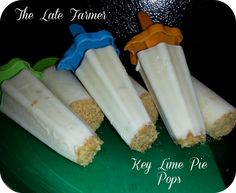 Key Lime Pie Pops: 8 Graham Crackers (crushed),  1 Cup of Sweetened Condensed Milk,  1 Cup of Yogurt,  Zest of 4 Limes,  24 Key Limes = 3/4 cup of Lime juice