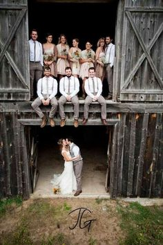 Rustic country wedding photography ideas with the whole bridal party. This is a more fun and casual kind of photography for your wedding. wedding outfit Top 30 Country Wedding Ideas and Wedding Invitations for Fall 2015 Cute Wedding Ideas, Trendy Wedding, Wedding Pictures, Dream Wedding, Wedding Day, Wedding Venues, Party Pictures, Party Photos, Rustic Wedding Photos