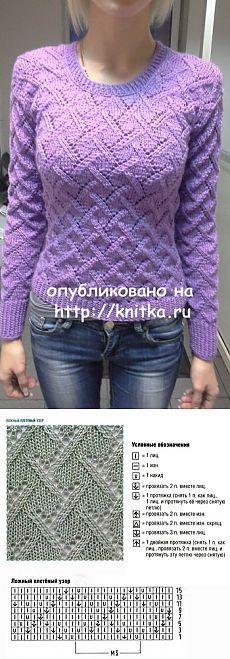 Женский пуловер спицами со схемой вязания, Вязание для женщин