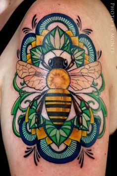 #honeybee #tattoo by Laura Black at Firefly Tattoo in Indianapolis