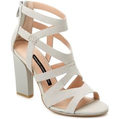 """French Connection """"Isla"""" Leather Sandal ❤ liked on Polyvore featuring shoes, sandals, heels, leather shoes, real leather shoes, french connection, leather heeled sandals and leather footwear"""