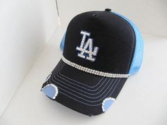 Trucker Hat LA LA Dodgers Dodgers Hat  Bling by TheApicellaEdge
