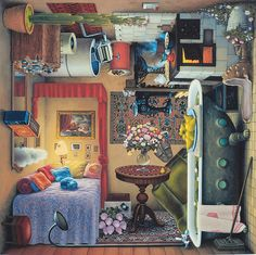 """Mind-blowing four sided scenarios by Polish surrealist painter Jacek Yerka. """"These paintings are specials of specials. They show not one world but four and you can hang them on each side and each way will fit perfectly."""" — Jacek Yerka More art on the grid via Feather of Me"""