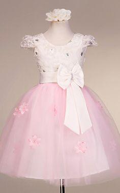 uma linha de cap de manga curta de tule / cetim casamento / noite vestido da menina flor