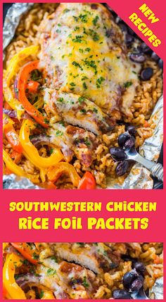 Hello guys, this time we will shâre how to cook Southwestern Chicken & Rice Foil Pâckets. Curious right how do mâke it, let's go we refe. Foil Packet Meals, Foil Packets, New Recipes, Dinner Recipes, Favorite Recipes, Rice Dishes, Main Dishes, Southwestern Chicken, Chicken Rice