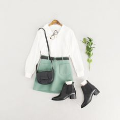 Square Neck Cotton Tee, Ivory, Two Pocket Belted Skirt, Mint, Stitch Point V Neck Blouse, Ivory and Chelsea Boots, Black