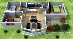 Plano de casa de 3 dormitorios en 3D #modelosdecasas #modelosdecasasdedospisos