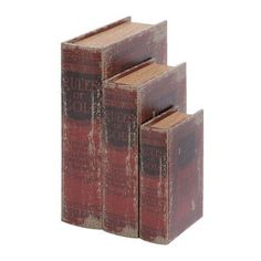 Cole & Grey 3 Piece Wood Book Box Set