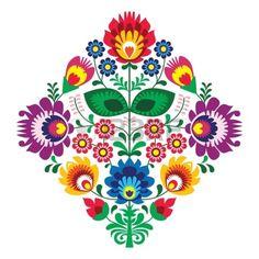 Broderie populaire avec des fleurs - modèle traditionnel polonais Banque d'images - 18622800