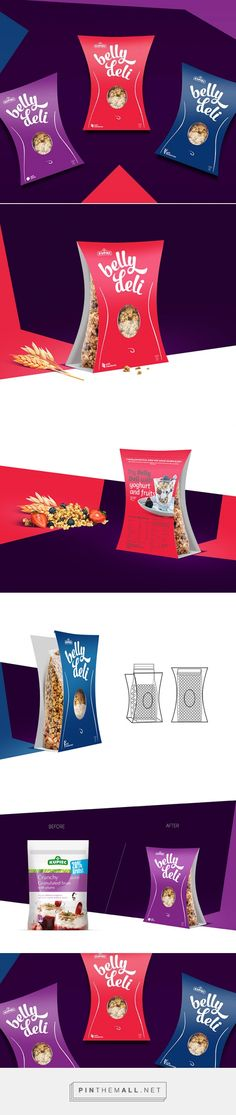 Belly Deli crunchy granulated bran by Arkadiusz Stanikowski. Source: Daily Package Design Inspiration. Pin curated by #SFields99 #packaging #design #inspiration #ideas #innovation #creative #product #consumer #structural #food #cereal #granola #healthy #color #range #typography #shape
