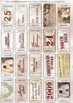 Freebie - Printable Labels - Vintage Christmas