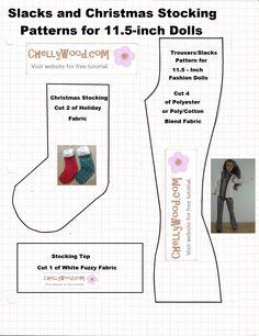 ChellyWood.com for free tutorial to make Barbie Christmas Stocking (great for Secret Santa too).