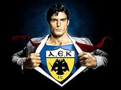 yet and superman is AEK! Superman, Christmas Ornaments, Holiday Decor, Logo, Sports, Athens, Xmas Ornaments, Hs Sports, Logos