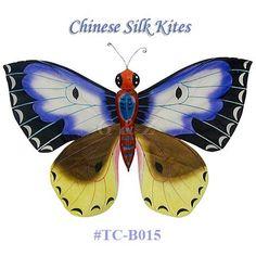 TC-B015+Blue-Yellow+Silk+Butterfly+Kite(Small)+-+Chinese+Silk+Kites