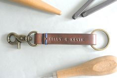 2014 personalized leather keychain keyclip fob hand-stitched hand stamped thick leather-f11856.jpg (1500×1004)