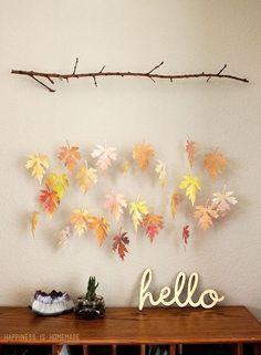 DIY Watercolor Leaves & Branch Mobile!