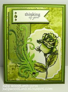 It's So Easy Being Green by Judy Woodland.  Stately Flowers 6 and Stampers Favorites stamp sets.