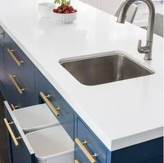 Navy blue is a classic color that is both timeless and sophisticated. A relative of black, navy adds just a hint of mystery and intrigue that isn't found in its much-darker cousin. Learn all the perks of navy cabinets in our latest blog!  #navybluekitchencabinets #navycabinets #navybluebathroom #navybluekitchen #navykitchenisland #navykitchendecor #navybathroomideas #navybathroomvanity Blue Kitchens, Home Decor Inspiration, Navy Blue Kitchen Cabinets, Kitchen Cabinets In Bathroom, Shaker Kitchen Cabinets, Distressed Cabinets, Navy Cabinets, Bathroom Inspiration, Kitchen Design
