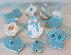 Or felt with embroidery: My little bakery :): Blue Christmas cookie set