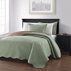 Collection Mesa 3piece Oversized Reversible Coverlet Bedspread KingSageTaupe Colors ** You can get more details by clicking on the image.