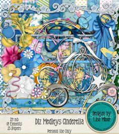 Diz Medleys - Cinderella INSTANT DOWNLOAD DIGITAL Scrapbook Kit Disney Scrapbook, Cinderella Scrapbook, Disney World Vacation, digital cinderella, digital coach, digital disney, digital magic wand, digital disney world, digital disneyland